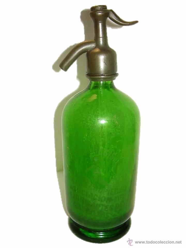 ANTIGUO Y PRECIOSO SIFON EPOCA MODERNISTA....COLOR VERDE. (Coleccionismo - Botellas y Bebidas - Botellas Antiguas)