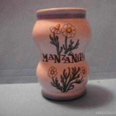 Botellas antiguas: PEQUEÑO BOTE FARMACÉUTICO. BOTE DE CERÁMICA DE MANZANILLA. Lote 56012458