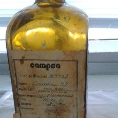 Botellas antiguas: ANTIGUA BOTELLA CAMPSA CON ETIQUETA Y ANOTACIONES. 1985. Lote 56051412