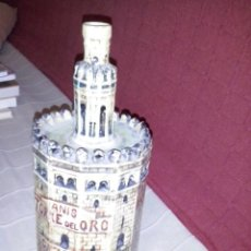 Botellas antiguas: BOTELLA ANIS TORRE DEL ORO CAZALLA SELLO EN LA BASE VACIA. Lote 56327586