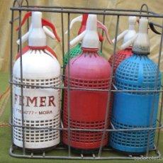 Botellas antiguas: LOTE DE 6 SIFONES DIFERENTES, CON CAJA CONTENEDOR METALICA.. Lote 57013678