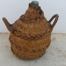 Botellas antiguas - Botella garrafa o damajuana antigua forrada de esparto - 57928159