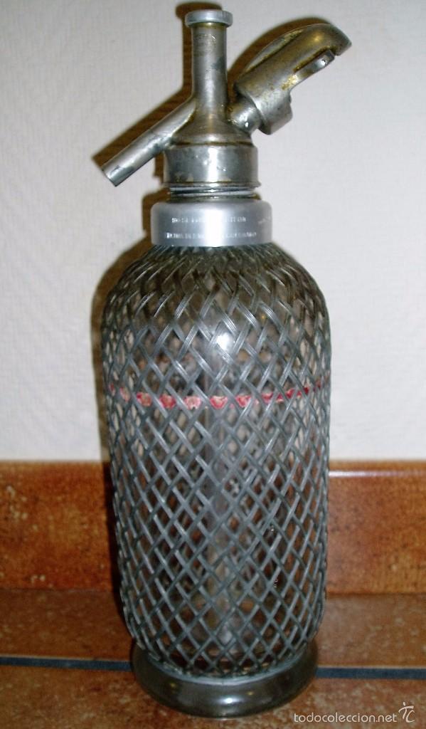 EXCELENTE SIFÓN INGÉS (SELLO LONDON) DE CRISTAL ENMALLADO ANTIGUO. PARA EMBOTELLAR EN ESPAÑA (Coleccionismo - Botellas y Bebidas - Botellas Antiguas)