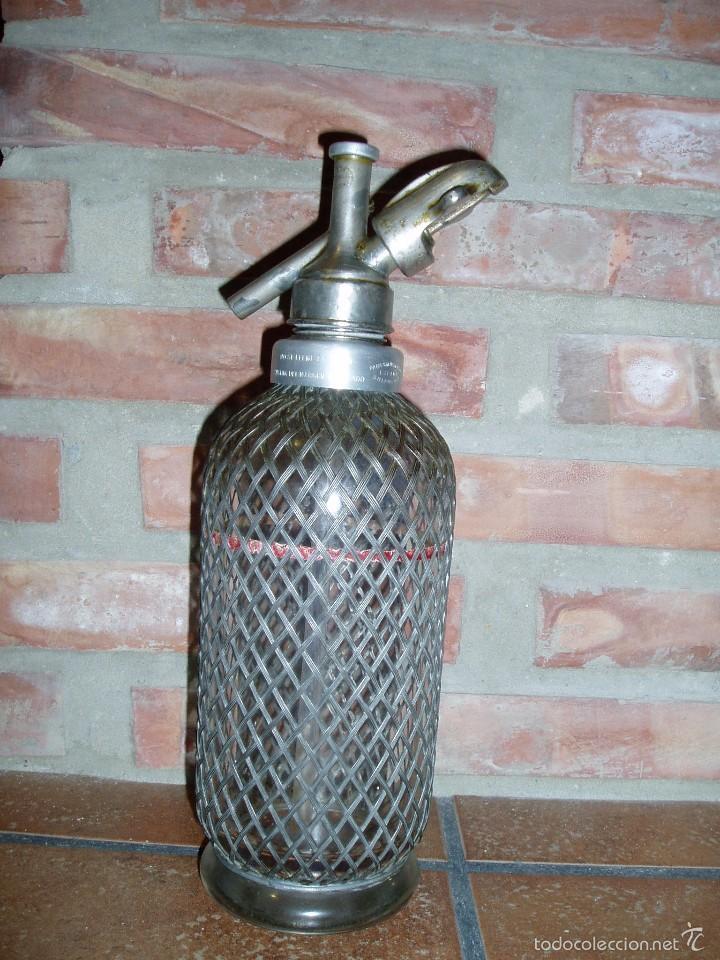 Botellas antiguas: EXCELENTE SIFÓN INGÉS (SELLO LONDON) DE CRISTAL ENMALLADO ANTIGUO. PARA EMBOTELLAR EN ESPAÑA - Foto 2 - 59608255