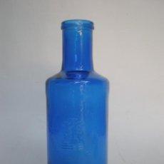 Botellas antiguas: BOTELLA VIDRIO AZUL *SOLAN DE CABRAS - BALNEARIO Y AGUAS* 50 CL., RELIEVES, CUENCA. Lote 195386331