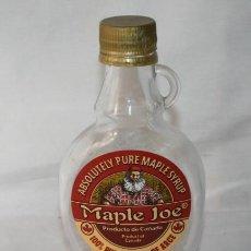 Botellas antiguas: BOTELLA DE CRISTAL MAPLE JOE JARABE DE ARCE CANADA. Lote 60634595