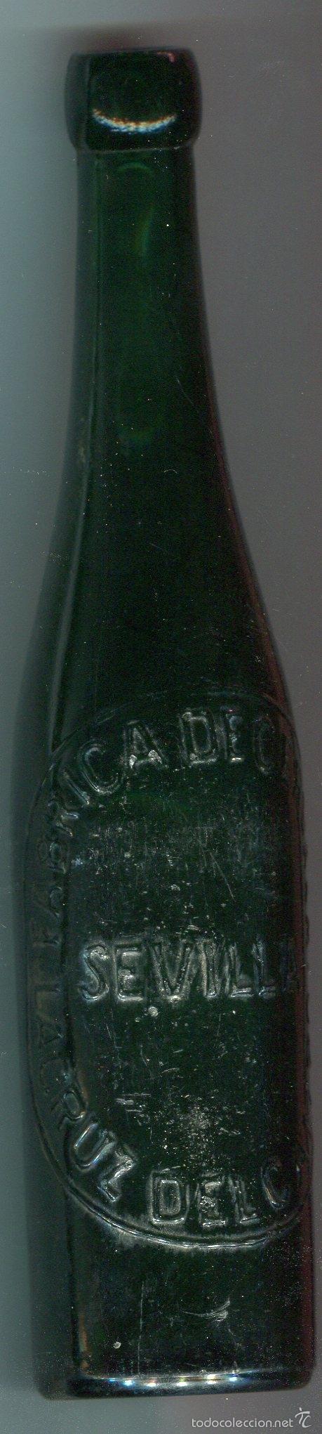 BOTELLA DE CERVEZA PRIMERA EPOCA (1904) LA CRUZ DEL CAMPO (SEVILLA) MARCA DE FABRICANTE ROMBO (Coleccionismo - Botellas y Bebidas - Botellas Antiguas)