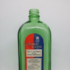 Botellas antiguas: BOTELLA MEDICAMENTO 'FERCOBRE HIERRO'. LABORATORIOS LASA. FARMACIA.. Lote 62011276