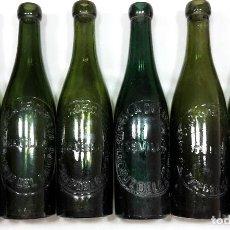 Botellas antiguas: COLECCION DE 6 BOTELLAS DIFERENTES DE CERVEZA LA CRUZ DEL CAMPO - SEVILLA - . Lote 63330408
