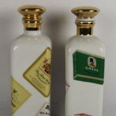 Botellas antiguas: PAREJA DE LICORERAS CON PUBLICIDAD DE TABACOS Y LICORES. EN PORCELANA POLICROMADA. MED S. XX.. Lote 44449314