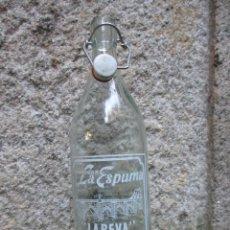 Botellas antiguas: GASEOSA LITRO ' LA ESPUMA LA REVA ' VAL MIÑOR,TAPON CERAMICO OTRA MARCA, JUNTA NUEVA. Lote 70143465