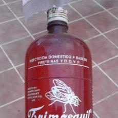 Botellas antiguas: ANTIGUA BOTELLA PLASTICO SERIGRAFIADA INSECTICIDA VACIA TRIMOSQUIL LAS PALMAS DE GRAN CANARIA DISA. Lote 72399179