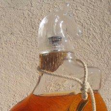 Botellas antiguas: BOTELLA DE VIDRIO CON FORMA CABALLO, CON SOL - MIDELE DEPOSE G. Lote 72936079