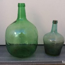 Botellas antiguas: LOTE DE 2 BOTELLA GARRAFA DAMAJUANA ANTIGUA DE 8 Y 2 LITROS PARA ALMACENAR VINO AGUA ACEITE OLIVA. Lote 77923221