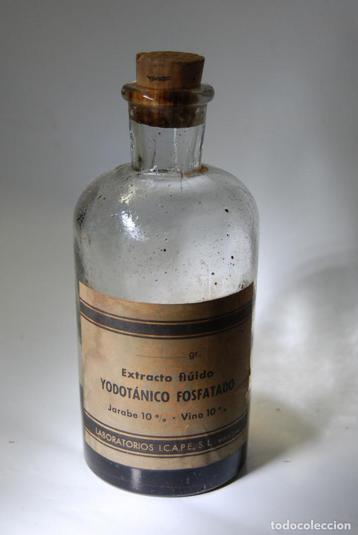 FRASCO DE FARMACIA YODOTANICO FOSFATADO LABORATORIOS ICAPE BARCELONA (Coleccionismo - Botellas y Bebidas - Botellas Antiguas)