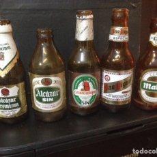 Botellas antiguas: LOTE BOTELLAS CERVEZA ALCÁZAR CRUZCAMPO SAN MIGUEL MAHOU. Lote 79685387