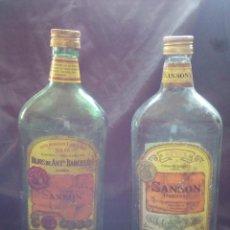 Botellas antiguas: DOS BOTELLA LITRO ,VACIAS, GRAN VINO SANSON DE BACARLES Y BARCELO .VALLADOLID.. Lote 79882561