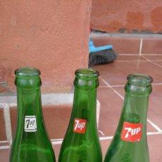 Botellas antiguas: LOTE 3 MODELOS ANTIGUA BOTELLA BOTELLIN SERIGRAFIA REFRESCO GASEOSA SEVEN UP 7UP VACIAS 200 ML. Lote 81907826
