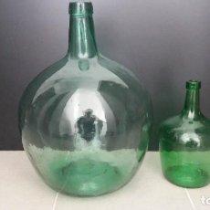 Botellas antiguas: 2 ANTIGUA GARRAFA BOTELLA DAMAJUANA GRANDE Y PEAUEÑA DE CRISTAL DE 2 Y 16 LITROS. Lote 136528274