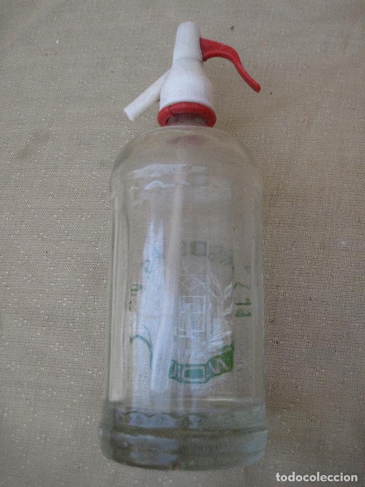 Botellas antiguas: SIFON - BOTELLA EN CRISTAL SERIGRAFIADO MARCA : EL LAUREL DE BACO - MADRID. - Foto 2 - 83280316