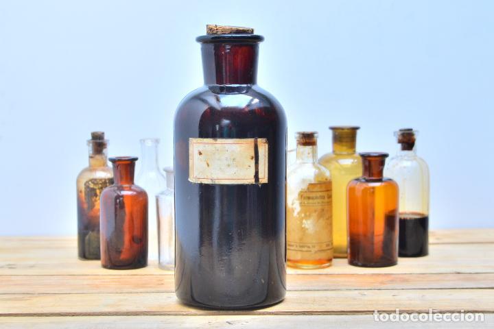 antigua botella de cristal de medicamento frasco botella de farmacia ambar botellon vidrio corcho