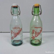 Botellas antiguas: GASEOSA LA UNION - 2 BOTELLAS 400CC - DE GINZO EN PUENTEAREAS . Lote 96626939