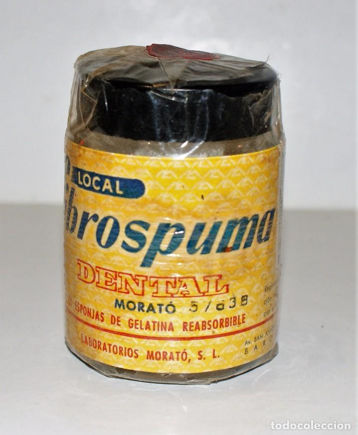 Botellas antiguas: FIBROSPUMA DENTAL- esponjas de gelatina- Laboratorios Morató-Barcelona- Farmacia - Foto 2 - 101099419
