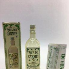 Botellas antiguas: BOTELLA DE 200 CC. DE AGUA DEL CARMEN ELIXIR DE CARMELITAS DESCALZO - TARRAGONA. Lote 102737003