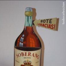 Botellas antiguas: BOTELLA DE SOBERANO GONZÁLEZ BYASS,JEREZ- PLÁSTICO DURO COMO BOTE DE BAR.TRILLO SEVILLA.40X13X7 CMS.. Lote 104271475