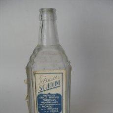 Botellas antiguas: FARMACIA ANTIGUA BOTELLA SOLUCIÓN SCHOUM CONTRA LOS CÓLICOS HEPÁTICOS SAN SEBASTIÁN. Lote 173953215