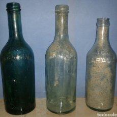 Botellas antiguas: LOTE BOTELLAS DIFERENTES AGUA CARABAÑA RELIEVE. Lote 108479207