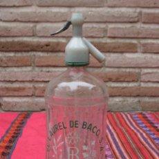 Botellas antiguas: SIFON - BOTELLA EN CRISTAL SERIGRAFIADO DE LA MARCA : EL LAUREL DE BACO - MADRID.. Lote 113261791