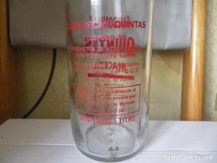 Botellas antiguas: BOTELLA DE GASEOSA QUINTAS MACEDA MUY RARA Y ESCASA UNICA EN TODOCOLECCION - Foto 3 - 113601539