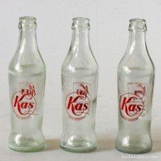 Botellas antiguas: 3 BOTELLINES ANTIGUOS DE KAS CON SERIGRAFÍA, AÑOS 60-70. Lote 120679479