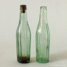 Botellas antiguas: PAREJA DE BOTELLINES ANTIGUOS CON MARCA EN RELIEVE EN LA BASE. Lote 121339419