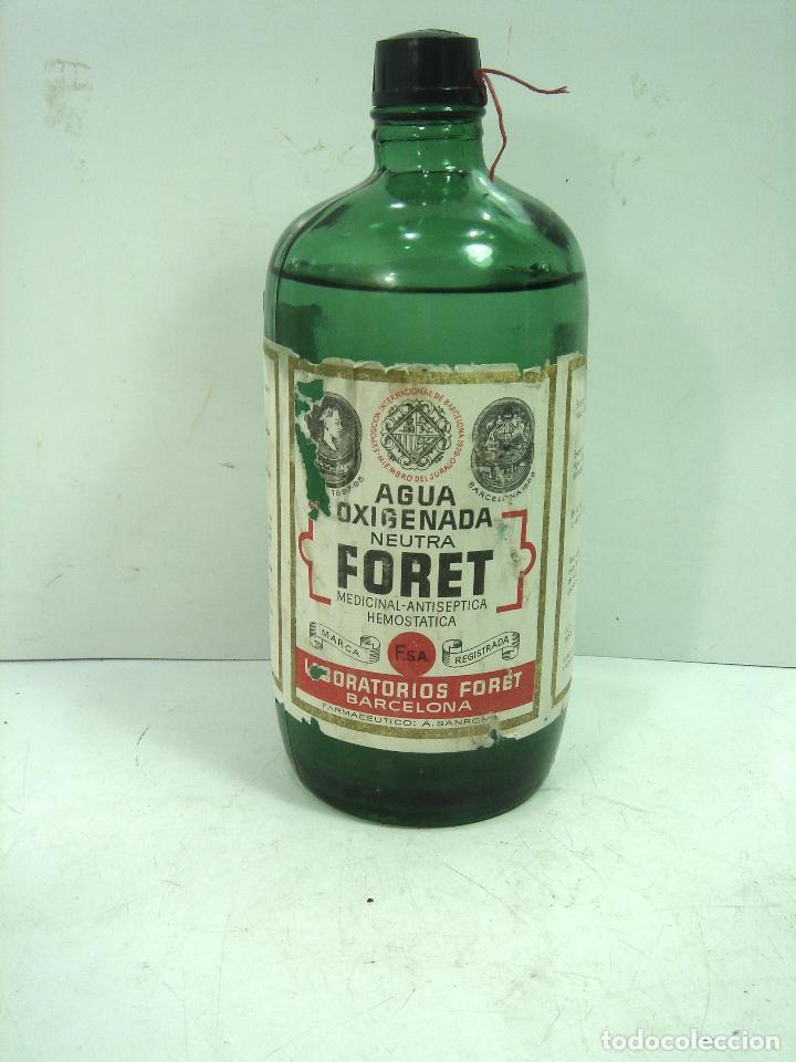 MITICA AGUA OXIGENADA FORET ¡¡PRECINTADA¡¡ BOTELLA 1 LITRO AÑOS 40 -CRISTAL -FRASCO BOTE LLENA (Coleccionismo - Botellas y Bebidas - Botellas Antiguas)