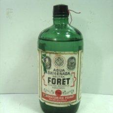 Botellas antiguas: MITICA AGUA OXIGENADA FORET ¡¡PRECINTADA¡¡ BOTELLA 1 LITRO AÑOS 40 -CRISTAL -FRASCO BOTE LLENA. Lote 122480331