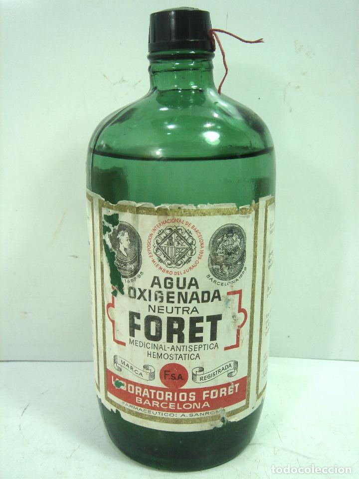 Botellas antiguas: MITICA AGUA OXIGENADA FORET ¡¡PRECINTADA¡¡ BOTELLA 1 LITRO AÑOS 40 -CRISTAL -FRASCO BOTE LLENA - Foto 2 - 122480331