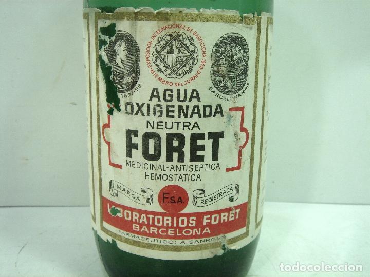 Botellas antiguas: MITICA AGUA OXIGENADA FORET ¡¡PRECINTADA¡¡ BOTELLA 1 LITRO AÑOS 40 -CRISTAL -FRASCO BOTE LLENA - Foto 3 - 122480331