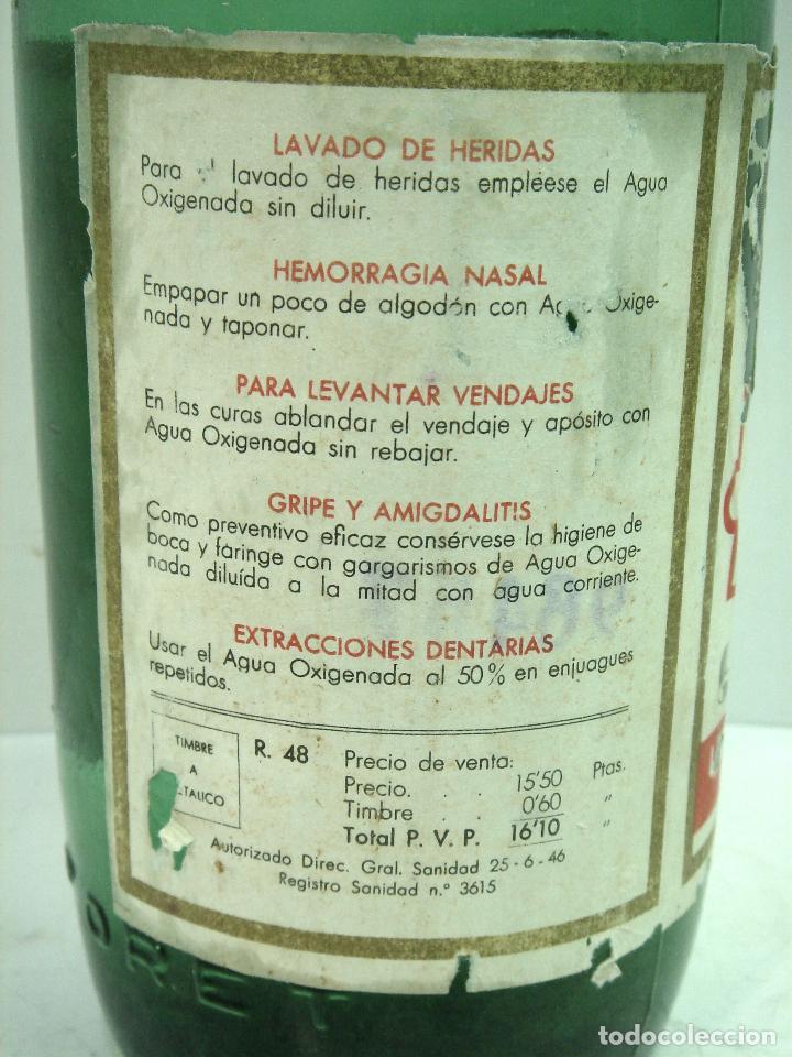 Botellas antiguas: MITICA AGUA OXIGENADA FORET ¡¡PRECINTADA¡¡ BOTELLA 1 LITRO AÑOS 40 -CRISTAL -FRASCO BOTE LLENA - Foto 5 - 122480331