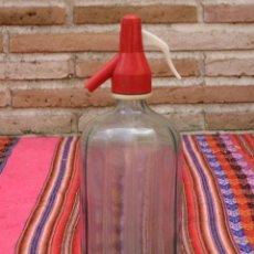 Botellas antiguas: SIFON ANTIGUO EN CRISTAL MUY GRUESO - LISTADO Y TONO VERDE.. Lote 122588919