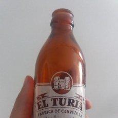 Bottigglie antiche: ANTIGUA BOTELLA DE CRISTAL SERIGRAFIADA CERVEZA EL TURIA VALENCIA DE 20 CL. Lote 127295323