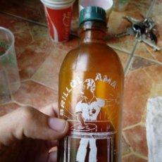 Botellas antiguas: ANTIGUA BOTELLA PLASTICO DE PULIMENTO BRILLO AMA VALENCIA MADERA SERIGRAFIA BLANCA. Lote 134872454