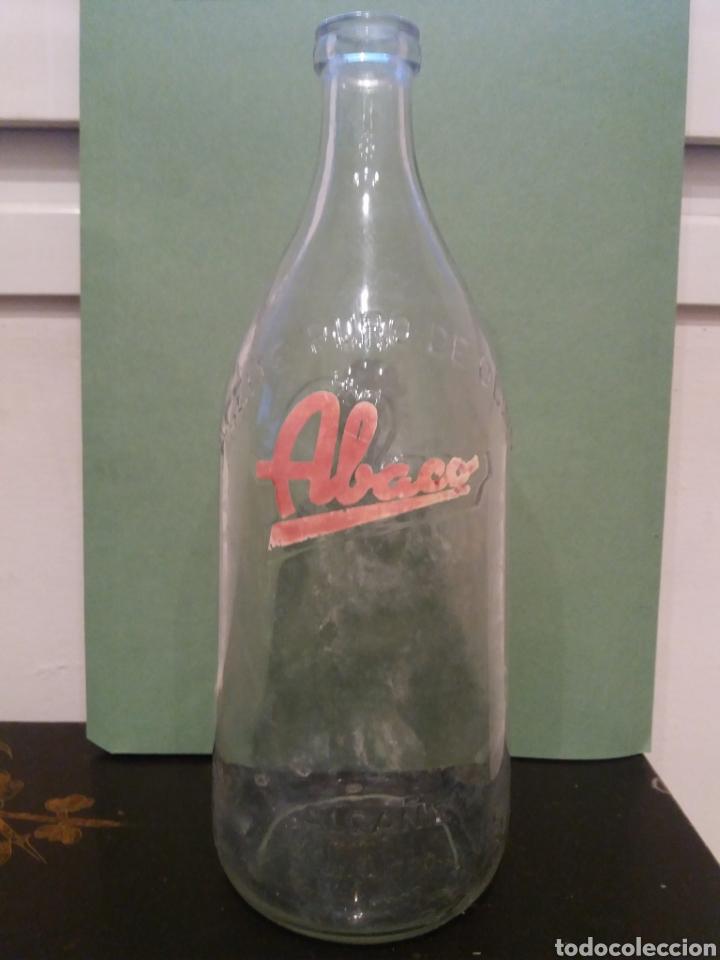ANTIGUA BOTELLA ABACO ALCAÑIZ ACEITE OLIVA 1 LITRO LETRAS RELIEVE DE CRISTAL (Coleccionismo - Botellas y Bebidas - Botellas Antiguas)
