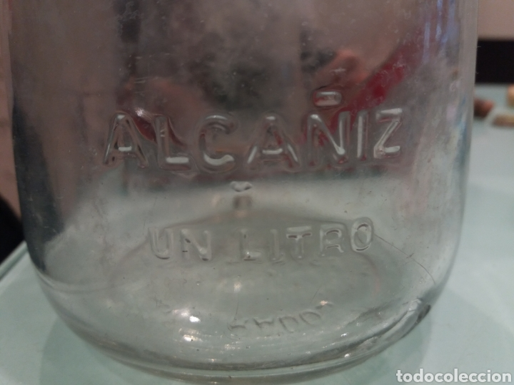 Botellas antiguas: ANTIGUA BOTELLA ABACO ALCAÑIZ ACEITE OLIVA 1 LITRO LETRAS RELIEVE DE CRISTAL - Foto 4 - 135832273