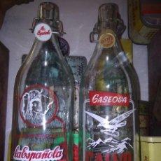 Botellas antiguas: BOTELLA GASEOSA LA ESPAÑOLA, CALVO, VALLADOLID, LITRO. Lote 137448166