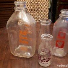 Botellas antiguas: COLECCI'ON 4 BOTELLAS DE LECHE AMERICANAS. MILK AND DAIRY FARMS. USA. Lote 139681162