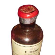 Botellas antiguas: ANTIGUO BOTE DE FARMACIA DE EUMENOL (EXTRACTO DE LA RAIZ DE TANG-KUL. Lote 26970604