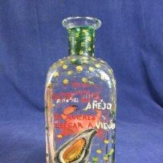 Botellas antiguas: ANTIGUA FRASCA DE VINO PINTADA A MANO PESCADO MARISCO . Lote 150234910