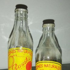Botellas antiguas: BOTELLAS ZUMOS NATURALES ROSITA NARANJA Y LIMON DE ANCHURAS. Lote 156799341